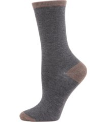 tipped flat knit cashmere women's crew socks