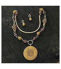 golden grass and agate jewelry set, 'jalapão enchantment' (brazil)
