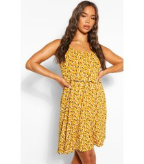 ditsy floral strappy ruffle detail swing dress, mustard