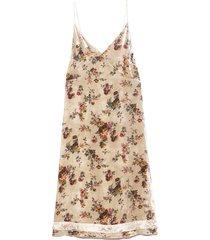 back tie slip dress with hem detail in ecru floral