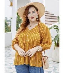 blusa de media manga a rayas con cuello en v y talla grande
