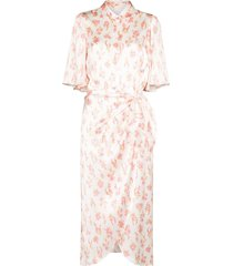 les rêveries floral-print wraparound dress - white