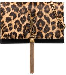 saint laurent kate leopard print clutch bag - black
