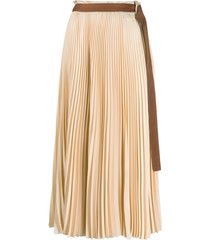alysi belted pleated skirt - neutrals