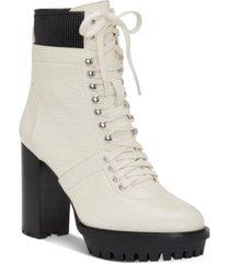 vince camuto women's ermania lace up lug sole combat booties women's shoes