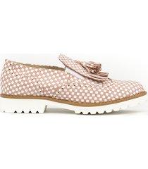 skórzane półbuty zapato 247 różowe kwadraty