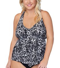 raisins curve trendy plus size trinadad incas printed tankini top women's swimsuit