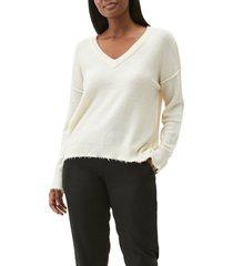 women's michael stars arina destroyed edge sweater, size small - beige