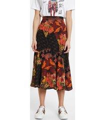 floral midi skirt - red - 44