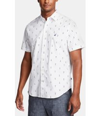 nautica men's blue sail classic-fit performance stretch anchor-print shirt, created for macy's