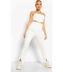 skinny broek met split, wit