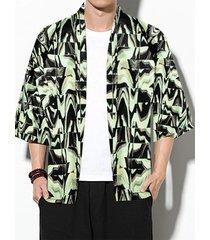 chaqueta de punto con estampado de protección solar retro casual para hombre