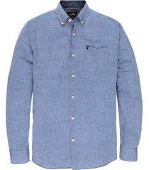 overhemd sleeve shirt linnen donkerblauw