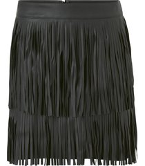 kjol onlindie faux leather fringe skirt