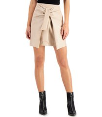 bar iii faux-leather tie-front skirt, created for macy's