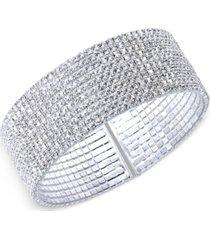 anne klein silver-tone crystal cuff bracelet