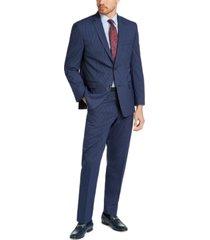 marc new york by andrew marc men's slim-fit blue pinstripe suit