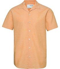 slhregnew-linen shirt ss resort w kortärmad skjorta beige selected homme