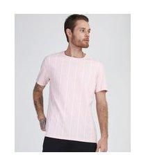 camiseta masculina listrada manga curta gola careca rosa claro