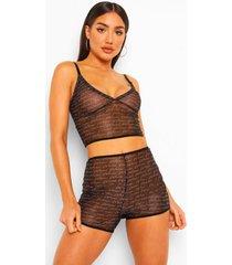 woman signature mesh pyjama set met bralette en shorts, black