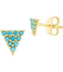 14k yellow gold & nano turquoise pyramid stud earrings