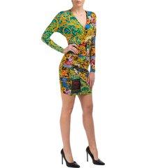 vestito abito donna corto miniabito manica lunga leo chain tropical baroque