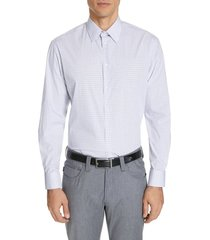 men's emporio armani modern fit stretch check dress shirt, size 18 - blue