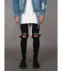 hombre letra bordado raya lateral casual rasgado skinny jeans