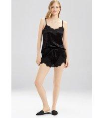 velvet dream shorts pajamas, women's, black, size l, josie