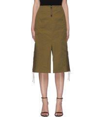 high centre slit side lace-up detail nylon skirt