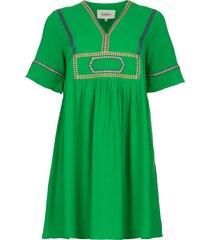 midi jurk met borduursels talia  groen