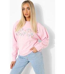 oversized gelicenseerde acdc sweater, light pink