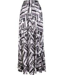 kiton long silk skirt with grey fantasy print