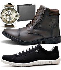2 pares bota coturno adventure e sapatênis casual com carteira e relógio new zaru 560-900mr preto