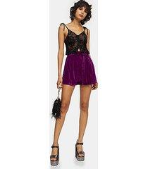 purple velvet tie shorts - magenta