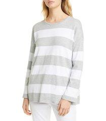 women's eileen fisher boxy stripe organic cotton sweater, size xx-small - beige