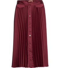 pleated midi skirt with placket knälång kjol röd scotch & soda