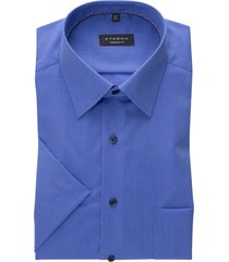 eterna hemd blauw comfort fit met borstzak