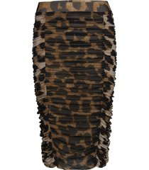 printed mesh knälång kjol brun ganni