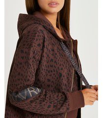 river island womens brown ri active leopard print zip hoodie