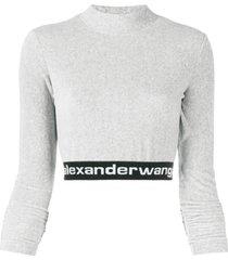 t by alexander wang long-sleeve crop top - cinza