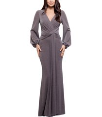 betsy & adam metallic knotted gown