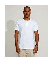 camiseta masculina básica manga curta gola padre branca