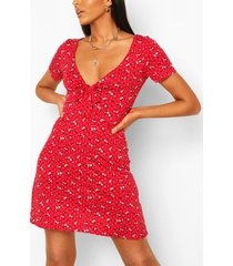 bloemenprint skater jurk met wijde mouwen, rood