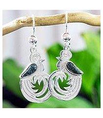 dark green jade dangle earrings, 'quetzal beauty' (guatemala)