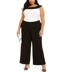 connected plus size colorblocked jumpsuit