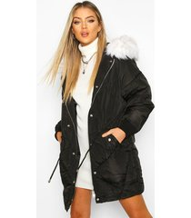 drawcord waist quilted parka, black