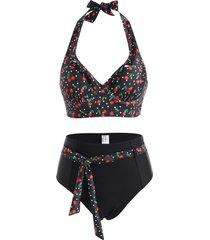 polka dot cherry print ruffle halter belted moulded tankini swimwear