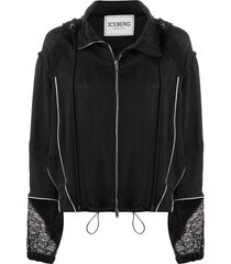 iceberg mesh panel jacket - black