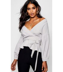 bell sleeve wrap over top, grey